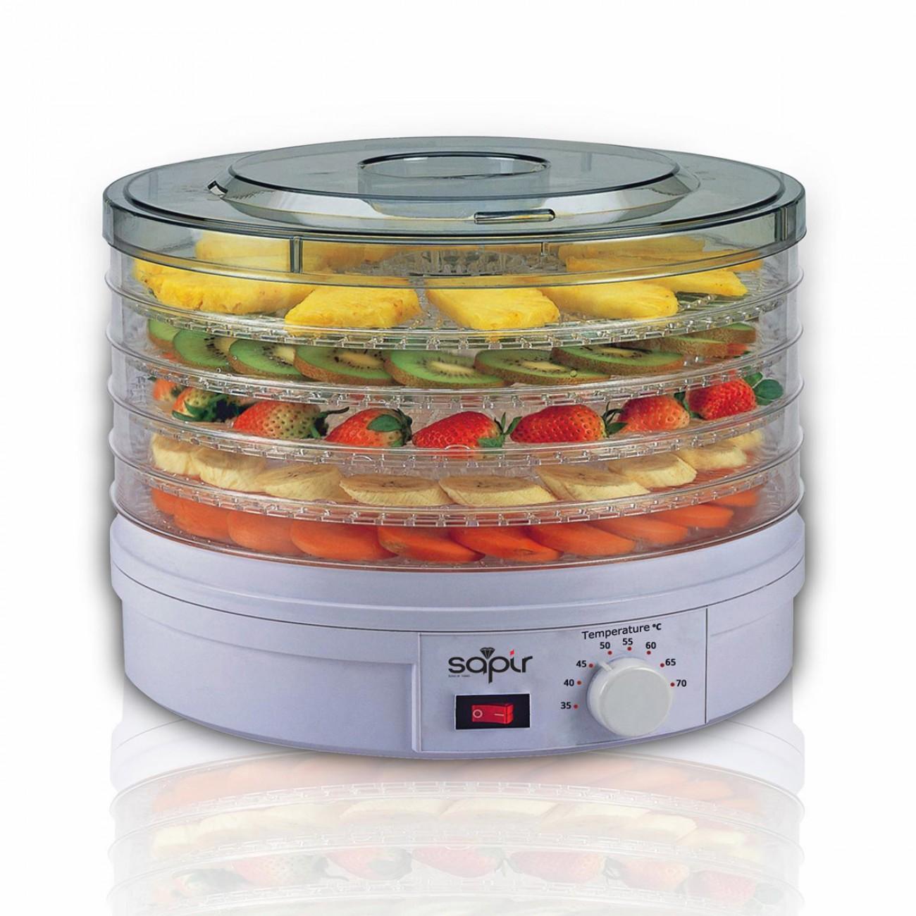 Сушилня за плодове и зеленчуци SAPIR SP 1451 A5, 250W, 35°C-70°C, 5 нива, Подходяща за гъби,месо и билки, Бял в Уреди за сушене - SAPIR | Alleop