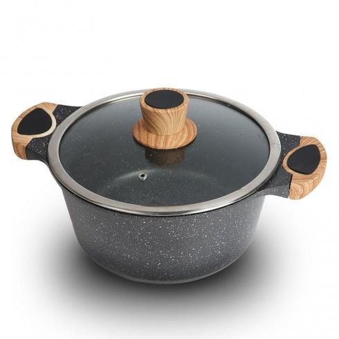 Тенджера с мраморно покритие Honhey HH-CERTG28, 28 см, 6 литра, Дебело дъно, Черен в Тенджери - Honhey | Alleop