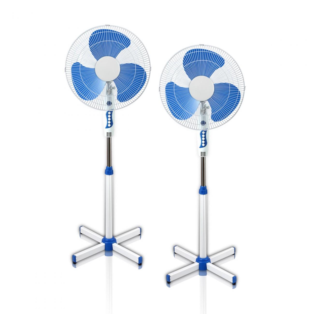 Комплект вентилатори на стойка 2 броя ESPERANSA ES 1760 B, 40W, 40 см, 3 степени на мощност, Регулиране на височината, Син/бял в Вентилатори - ESPERANSA | Alleop