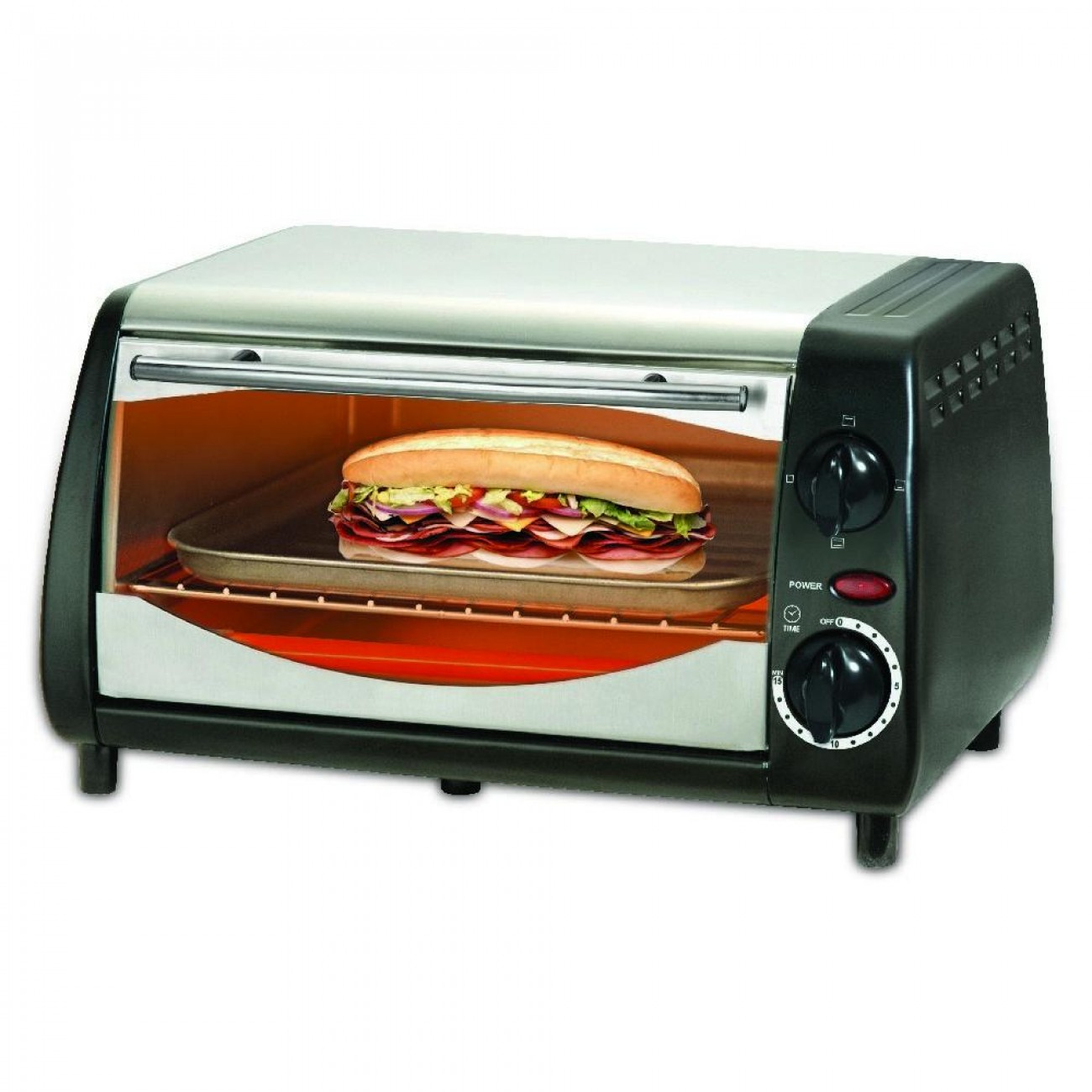 Тостер за сандвичи - фурна SAPIR SP 1441 NSB, 600W, 10 литра, Таймер, Черна/Сребрист в Електрически фурни - SAPIR | Alleop