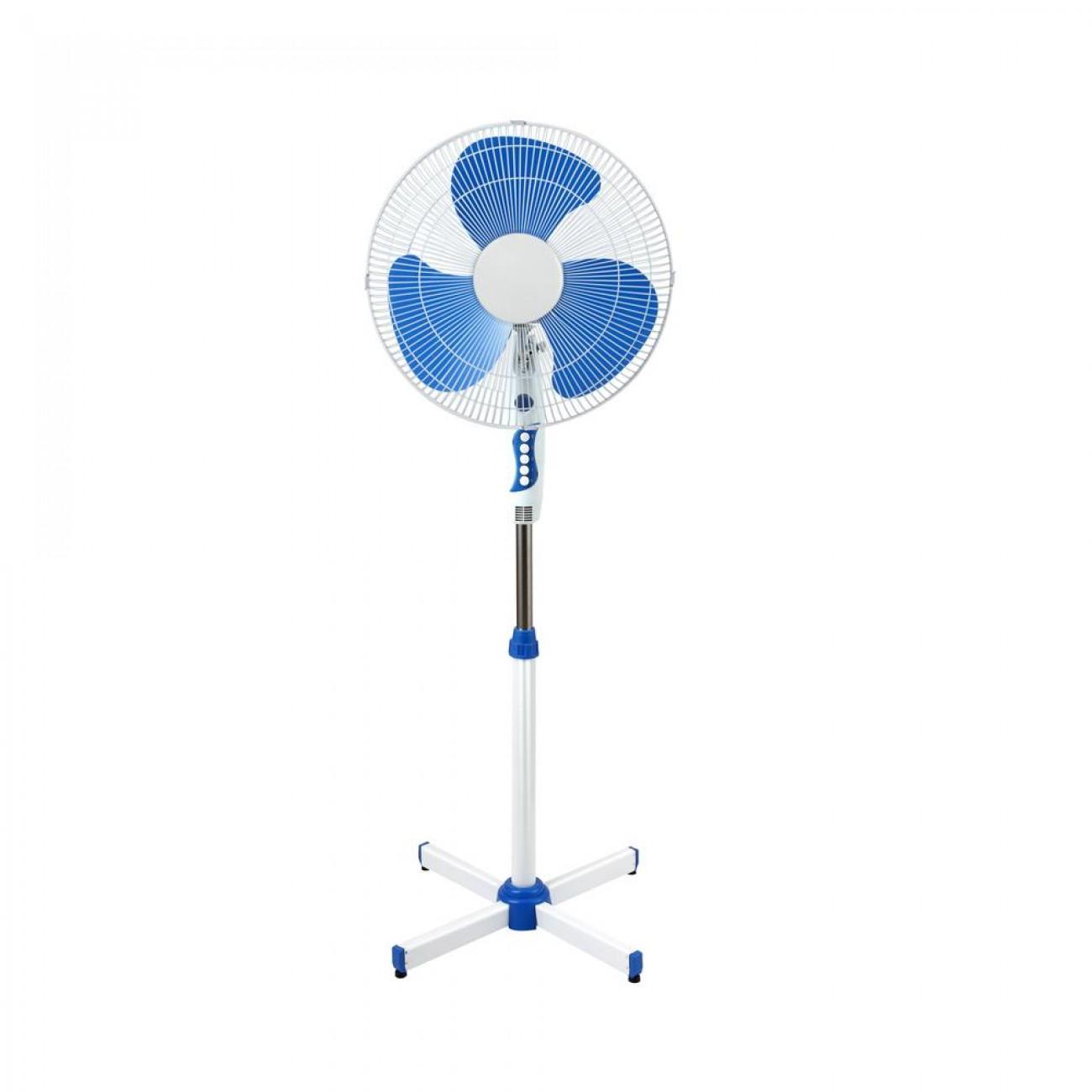Вентилатор на стойка SAPIR SP 1760 B, 40W, 40 см, 3 степени, Регулиране на височината, Решетка - спици, бял/син в Вентилатори - SAPIR   Alleop