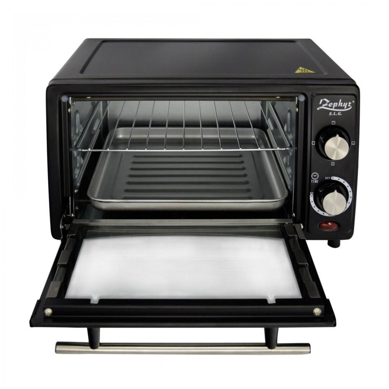 Малка готварска фурна ZEPHYR ZP 1441 R, 1200W, 12 л, Таймер, Тавичка, Черна в Електрически фурни - ZEPHYR | Alleop