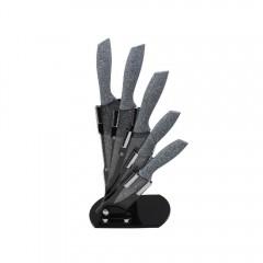 Комплект ножове с поставка ZEPHYR ZP 1633 CS5AS, 5 бр, Мраморно покритие