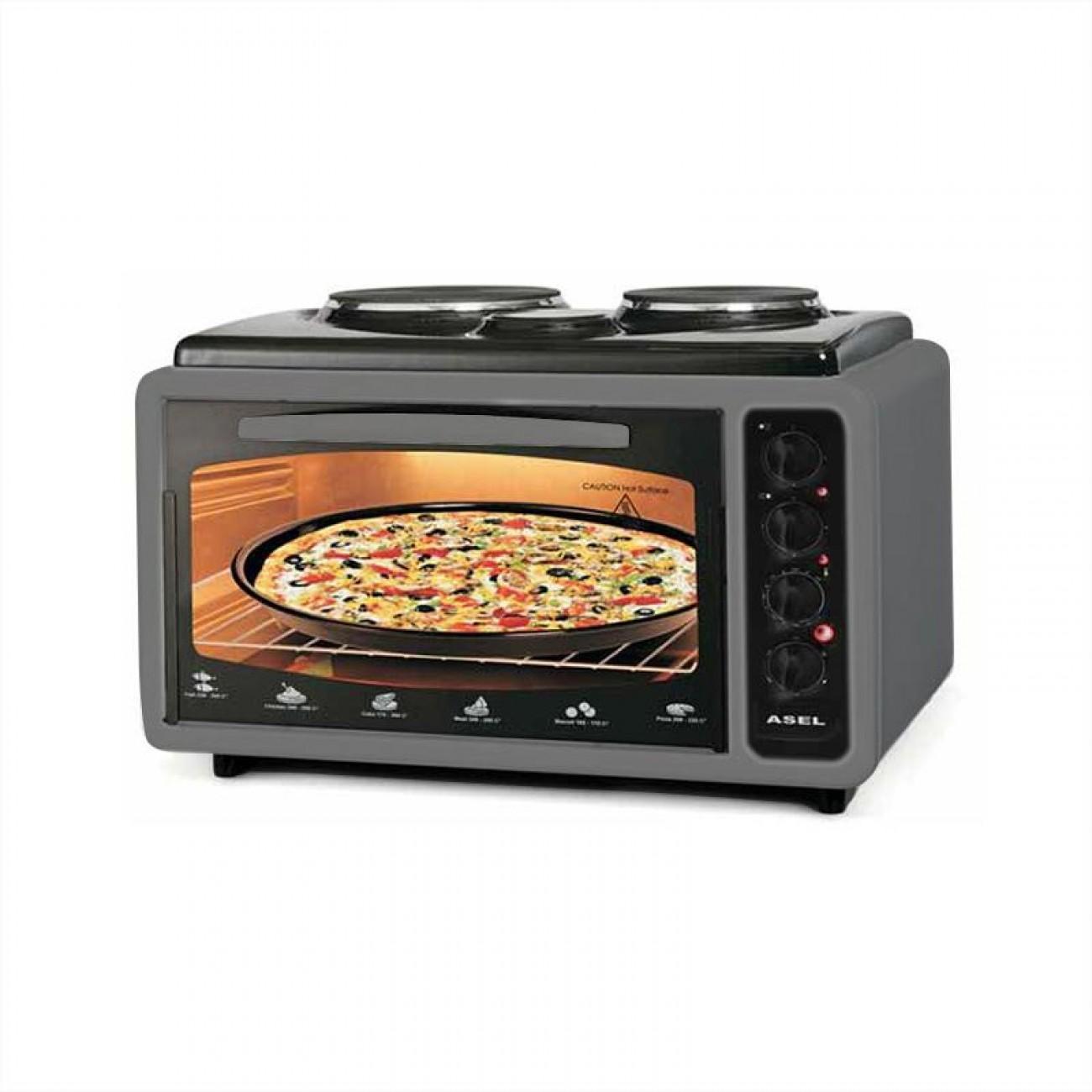 Готварска печка - фурна ASEL AF 4025, 40 л., 3100W, 2 нагряващи плочи, Тави 2 бр, Термостат, Сив в Готварски печки - ASEL | Alleop
