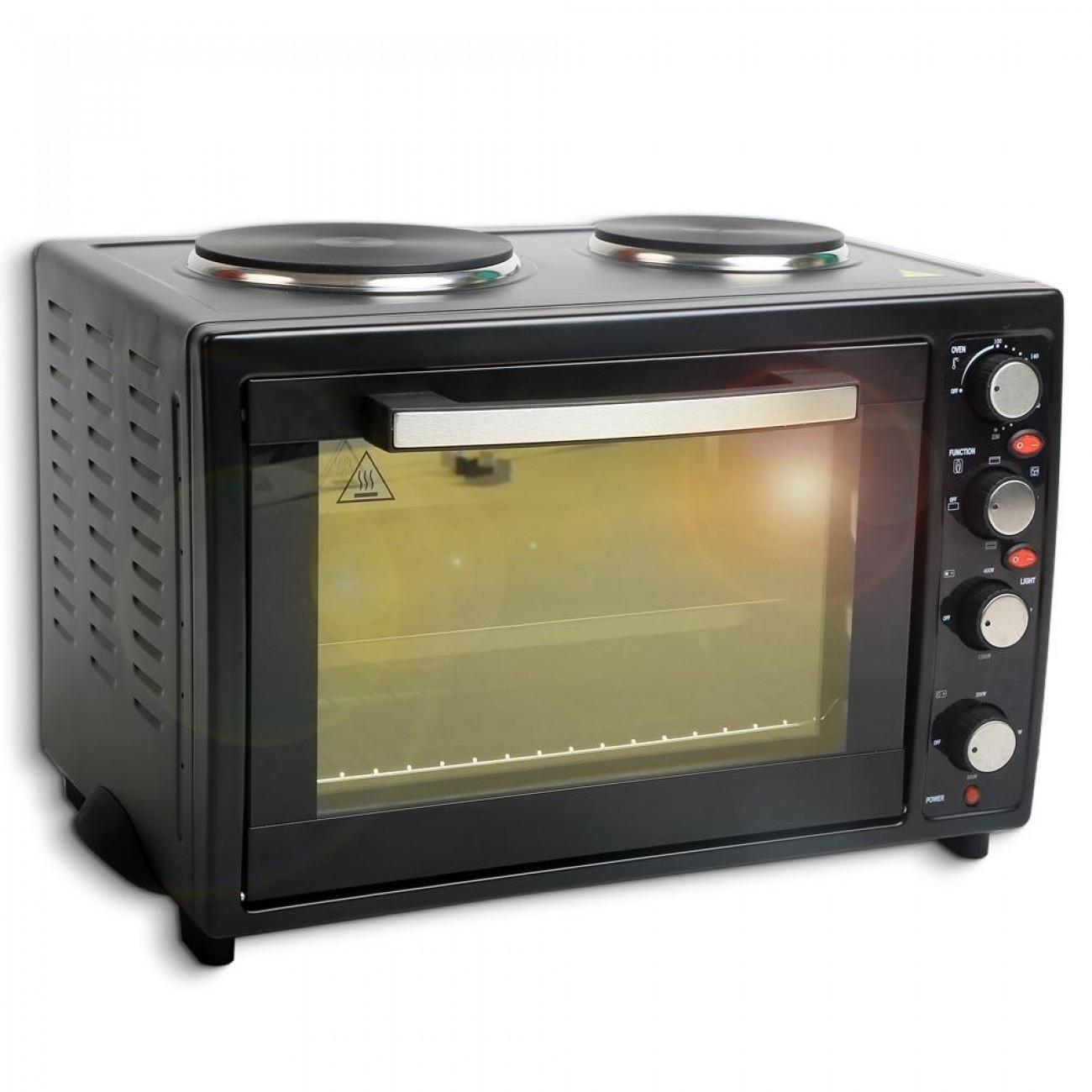 Готварска печка с конвекция ZEPHYR ZP 1441 SLC35, 35 литра, 3300W, Енергиен клас А,  Два котлона, Черен в Готварски печки - ZEPHYR | Alleop