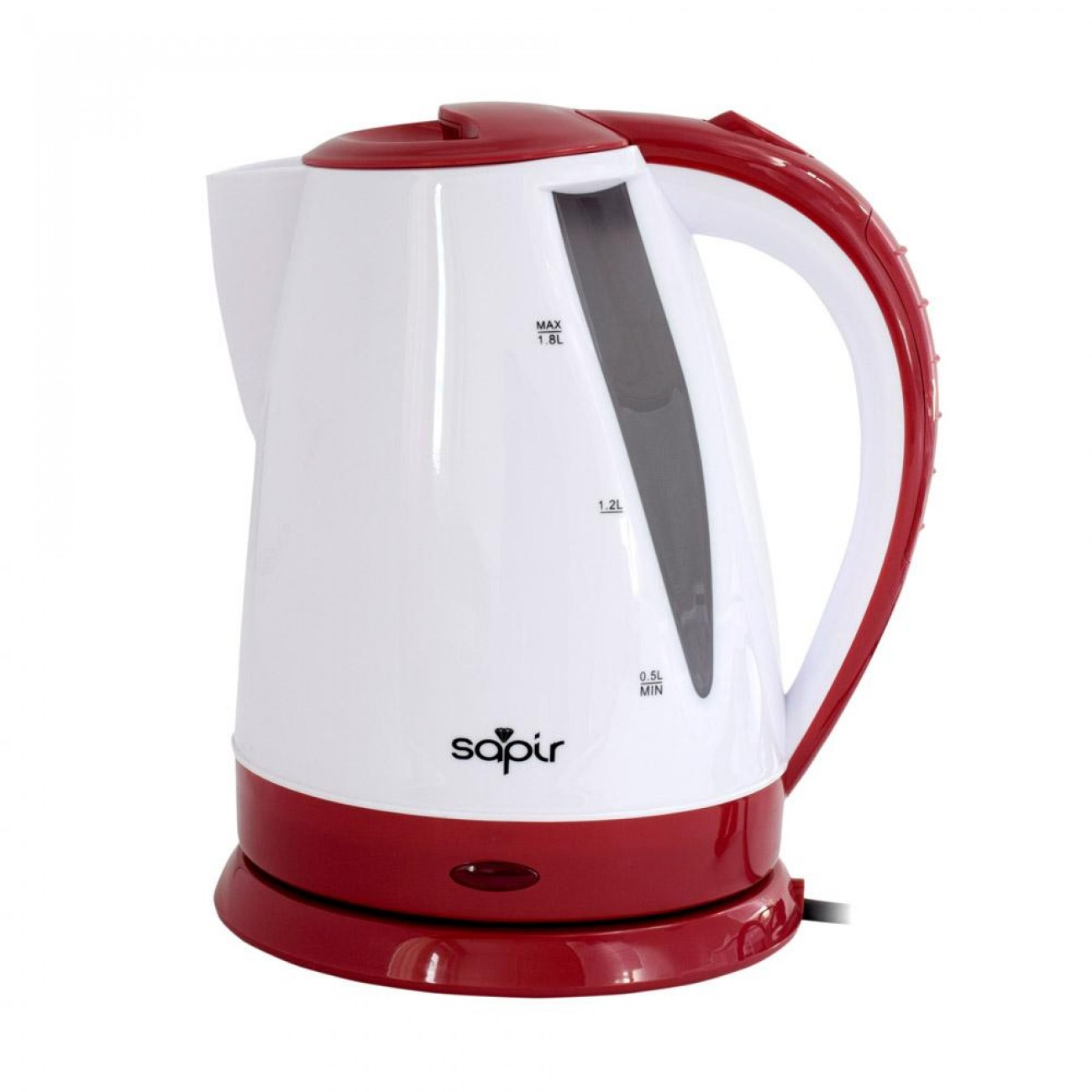 Електрическа кана SAPIR SP 1230 B, 1800W, 1.8 литра, Бял/червен в Електрически кани - SAPIR | Alleop