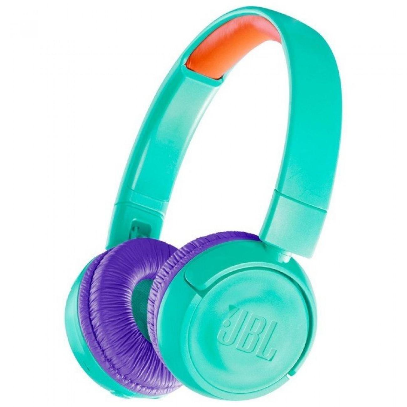 Слушалки JBL JR300BT, безжични, детски, Bluetooth, 12 часа живот на батерията при непрекъснато възпроизвеждане, светлозелени в Слушалки -  | Alleop