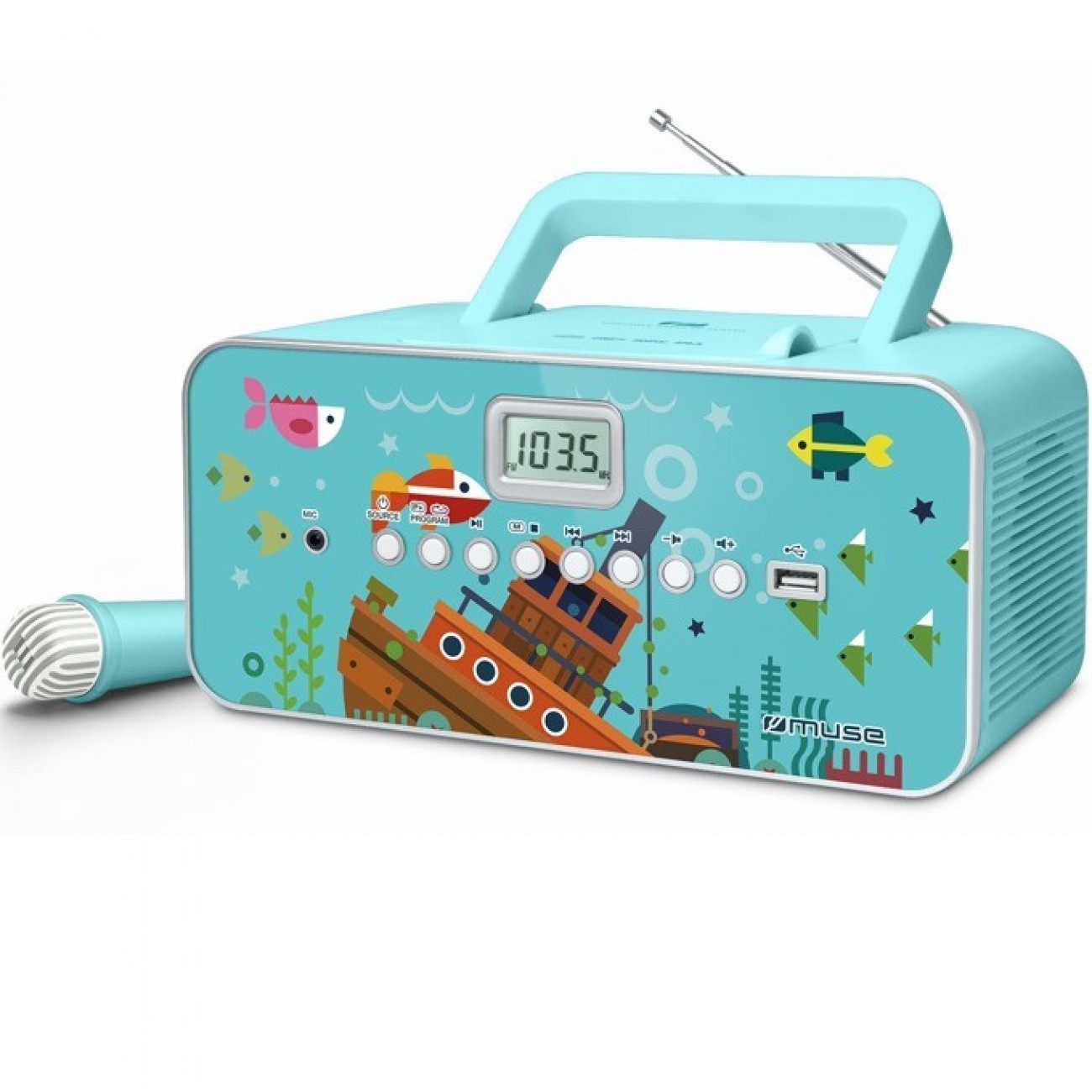 Радио MUSE M-29 KB CS, CD/CD-R/CD-RW/MP3, FM, синьо в Радио -  | Alleop