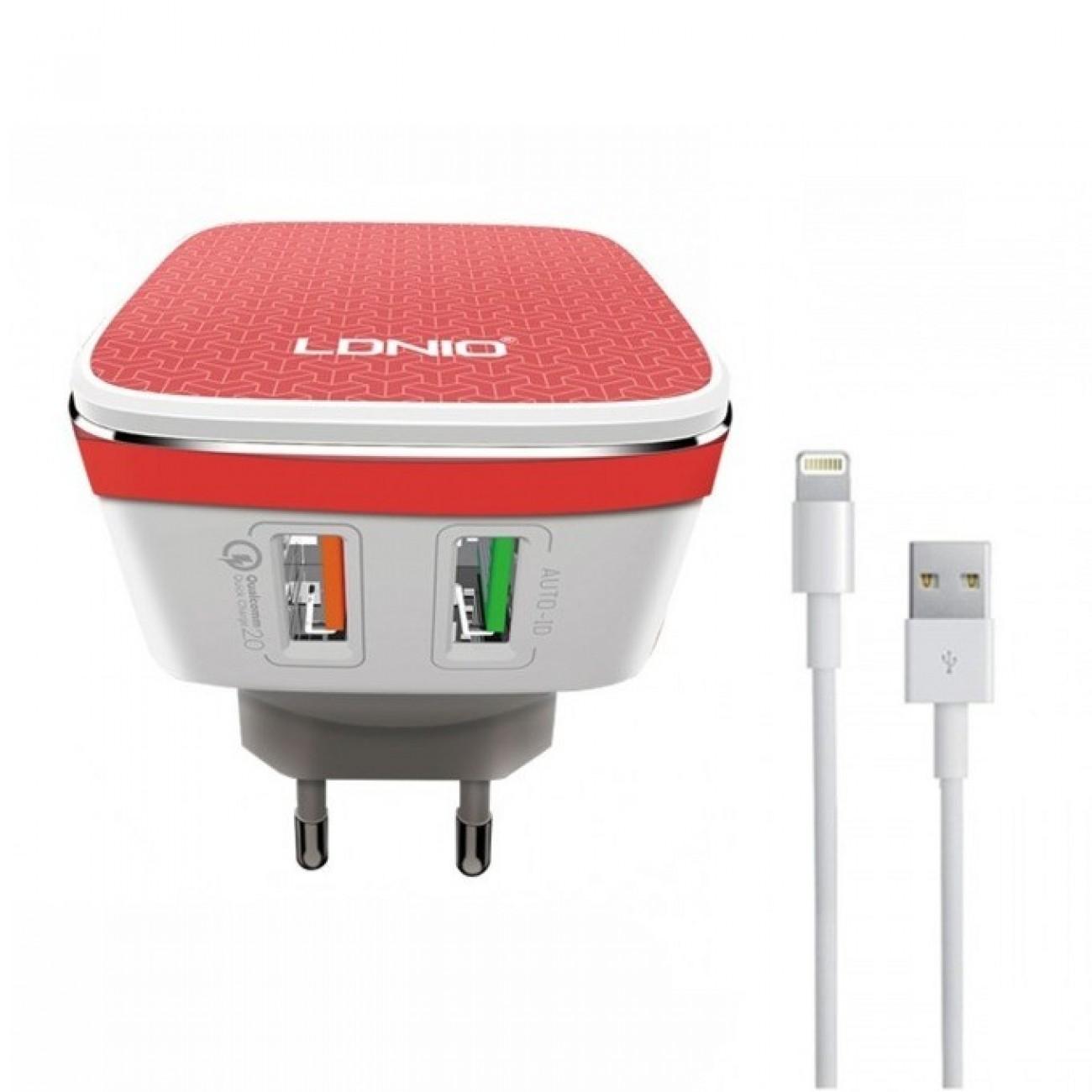 Мрежово зарядно устройство LDNIO A2405Q,от контакт към USB x2/lightning, Бял в Перални и Сушилни -  | Alleop