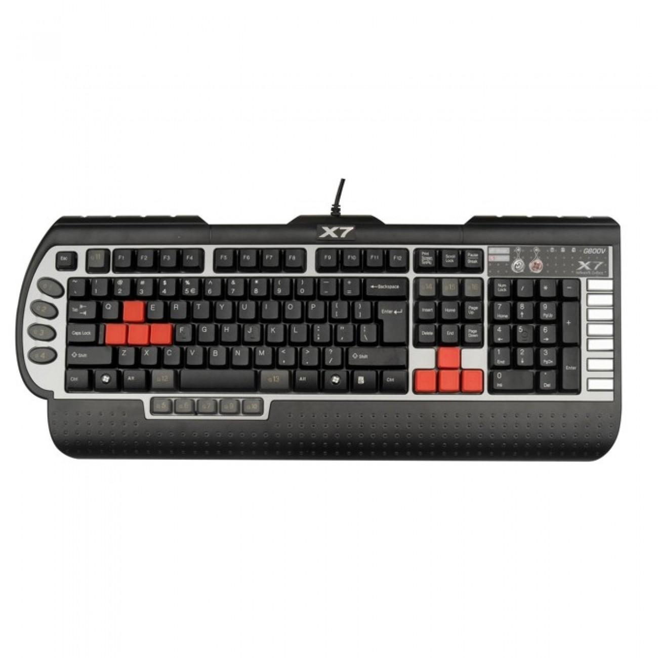 Клавиатура A4Tech G800V Gaming, 15 програмируеми бутона, макроси, USB в Клавиатури -  | Alleop