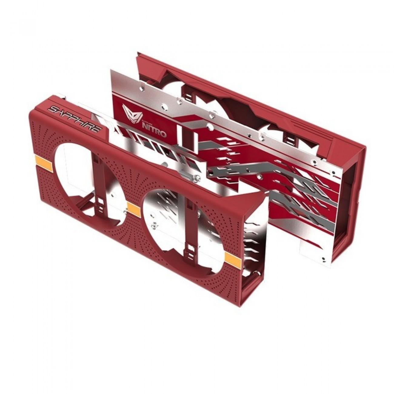 Цветен капак и охладител за видео карти Sapphire Nitro Gear Cooler Shroud & Backplate Lite, червен, съвместим с AMD Radeon Nitro, RX 580/570 Series в Вентилатори / Охладители -    Alleop