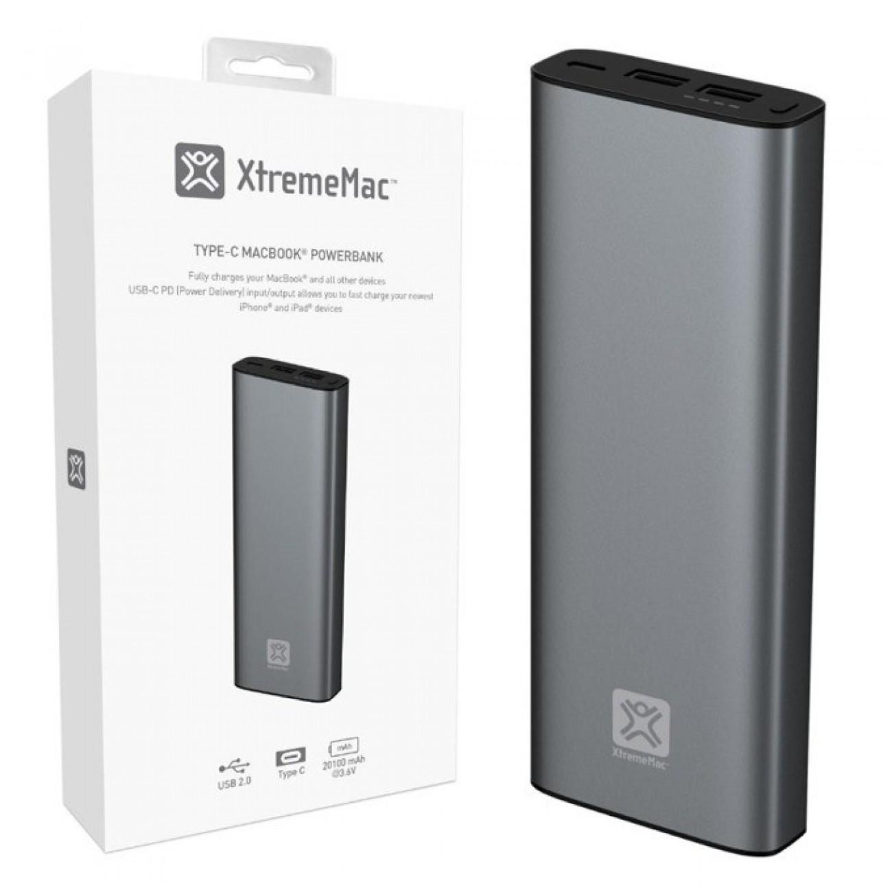 Външна батерия/power bank XtremeMac MACBOOK POWER BANK, 20100mAh - USB-C / USB-A - Space Grey в Външни батерии -  | Alleop