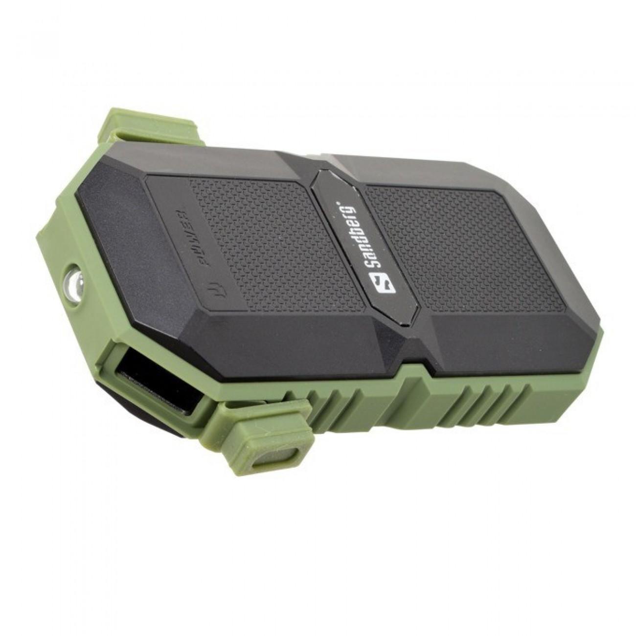 Външна батерия/power bank/ Sandberg 420-27, 6000 mAh, IP67 защитен корпус, черно/зелена в Външни батерии -  | Alleop