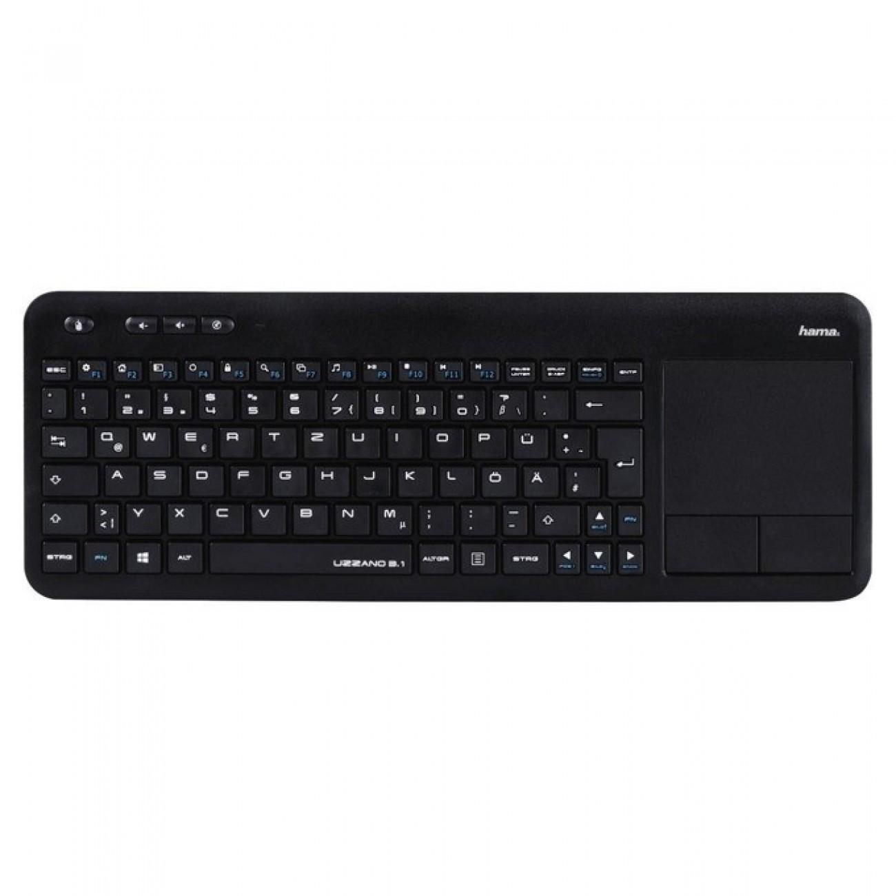 Клавиатура Hama Uzzano 3.1, безжична, тъч пад, черна, USB в Клавиатури -  | Alleop