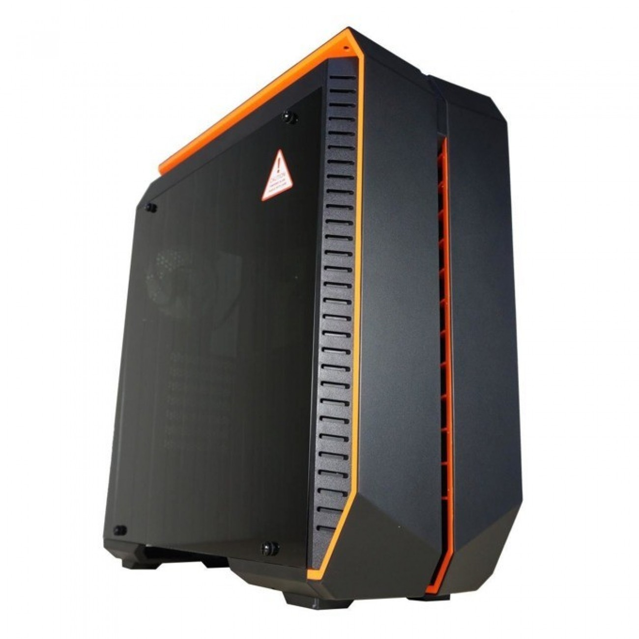 Кутия INAZA Devastator, ATX/mini/microITX, 2x USB 3.0, прозорец, черна/оранжева, без захранване в Компютърни кутии -    Alleop