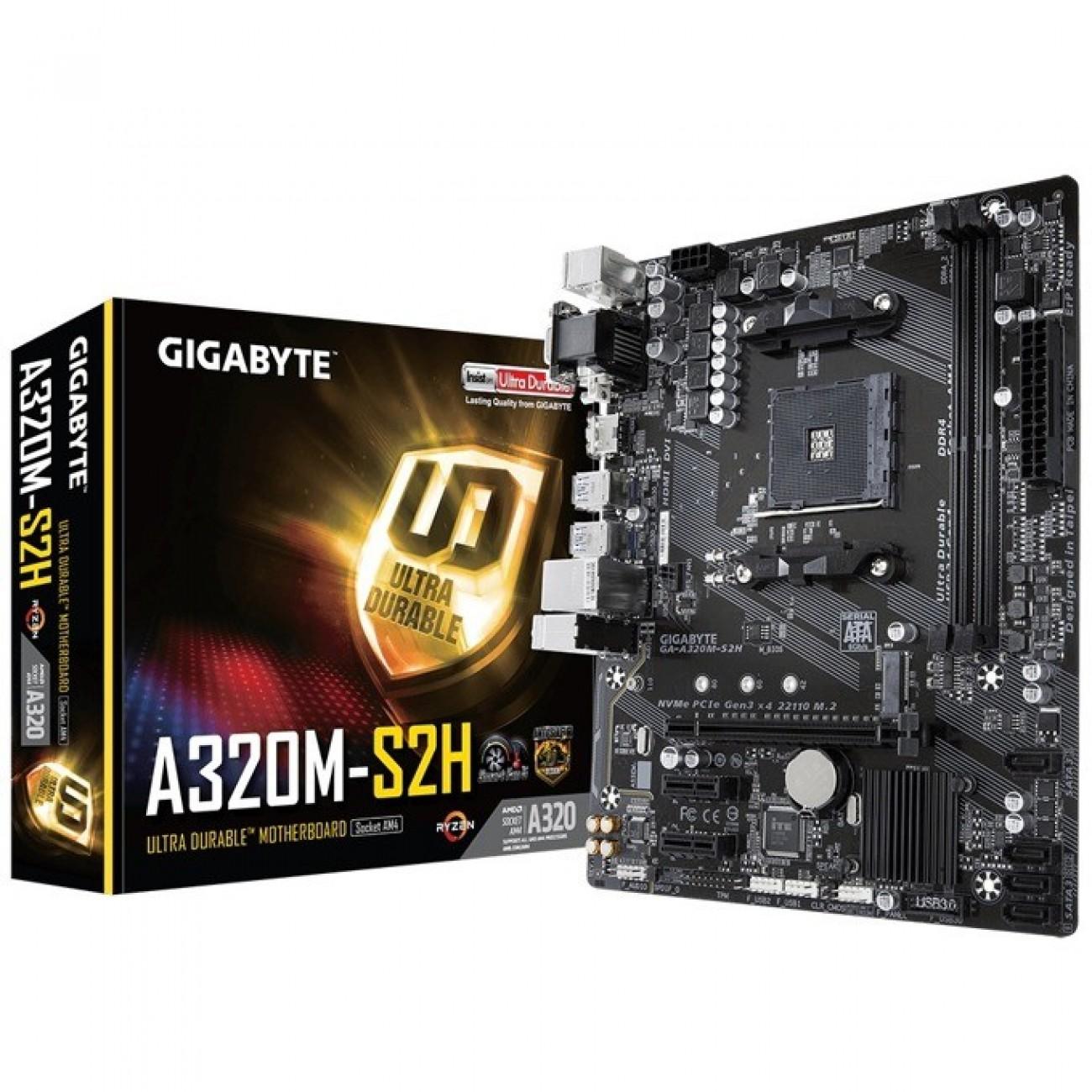 Дънна платка Gigabyte A320M-S2H, A320, AM4, DDR4, 4x SATA 6Gb/s, 1x M.2 slots, 4x USB 3.1, mATX в Дънни платки за AMD процесори -  | Alleop
