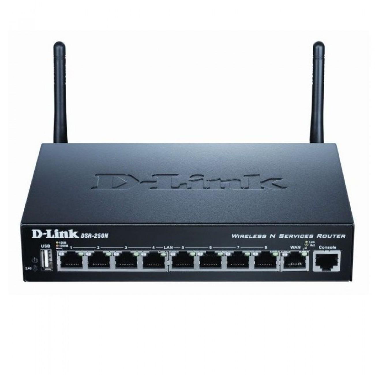 Рутер D-Link DSR-250N, 300 Mbps, 2.4GHz(300 Mbps), Wireless N, 8x LAN 1000, 1x WAN 1000, 1x USB 2.0, 2x външни антени в Рутери - безжични -  | Alleop