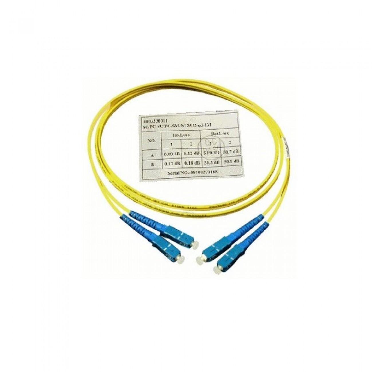 Оптичен пач кабел, SC/UPC(м) към SC/UPC(м), 9/125, сингъл мод, 1m в Свързващи пач оптични кабели -  | Alleop