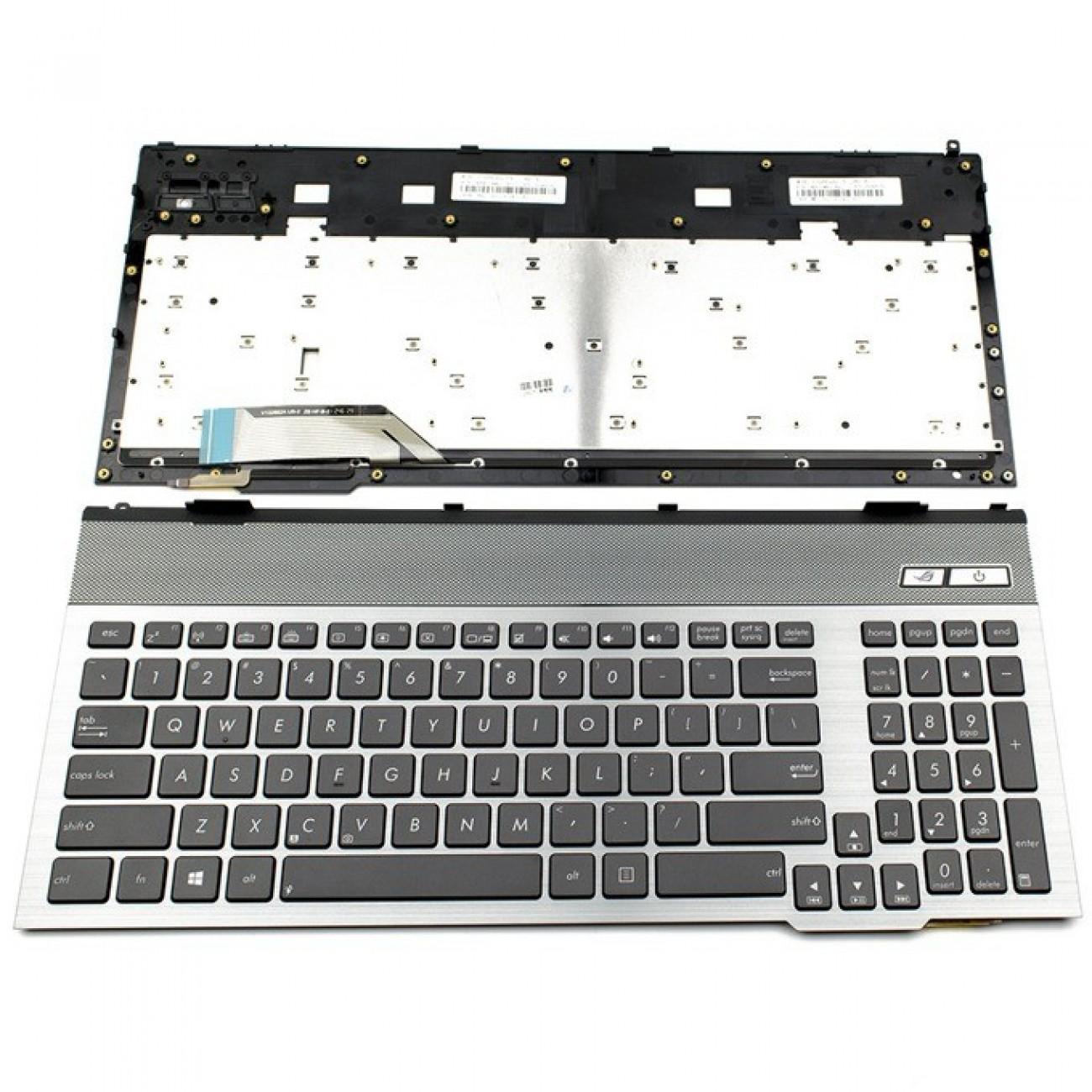 Клавиатура за Asus G55/G57, US, с рамка, с подсветка, сива рамка с черни бутони в Резервни части -  | Alleop