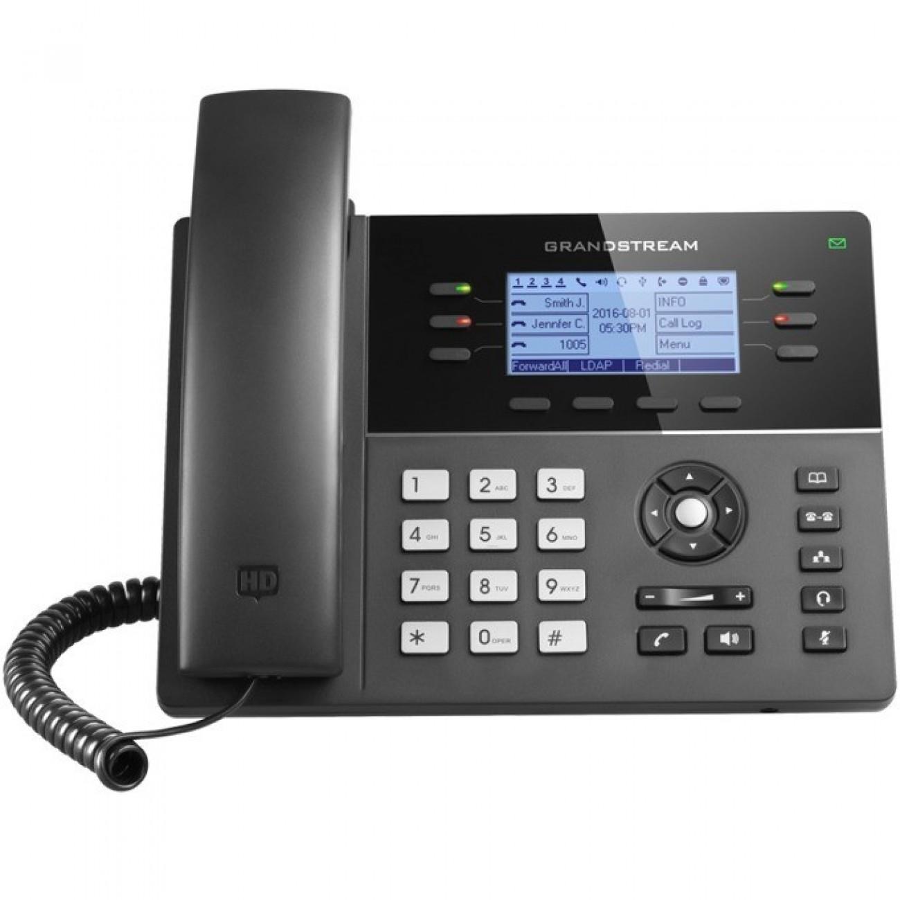 VoIP телефон GRANDSTREAM GXP1760W, LCD дисплей 200 x 80 pixel (3.3), 6 линии, черен в VoIP Телефони -  | Alleop