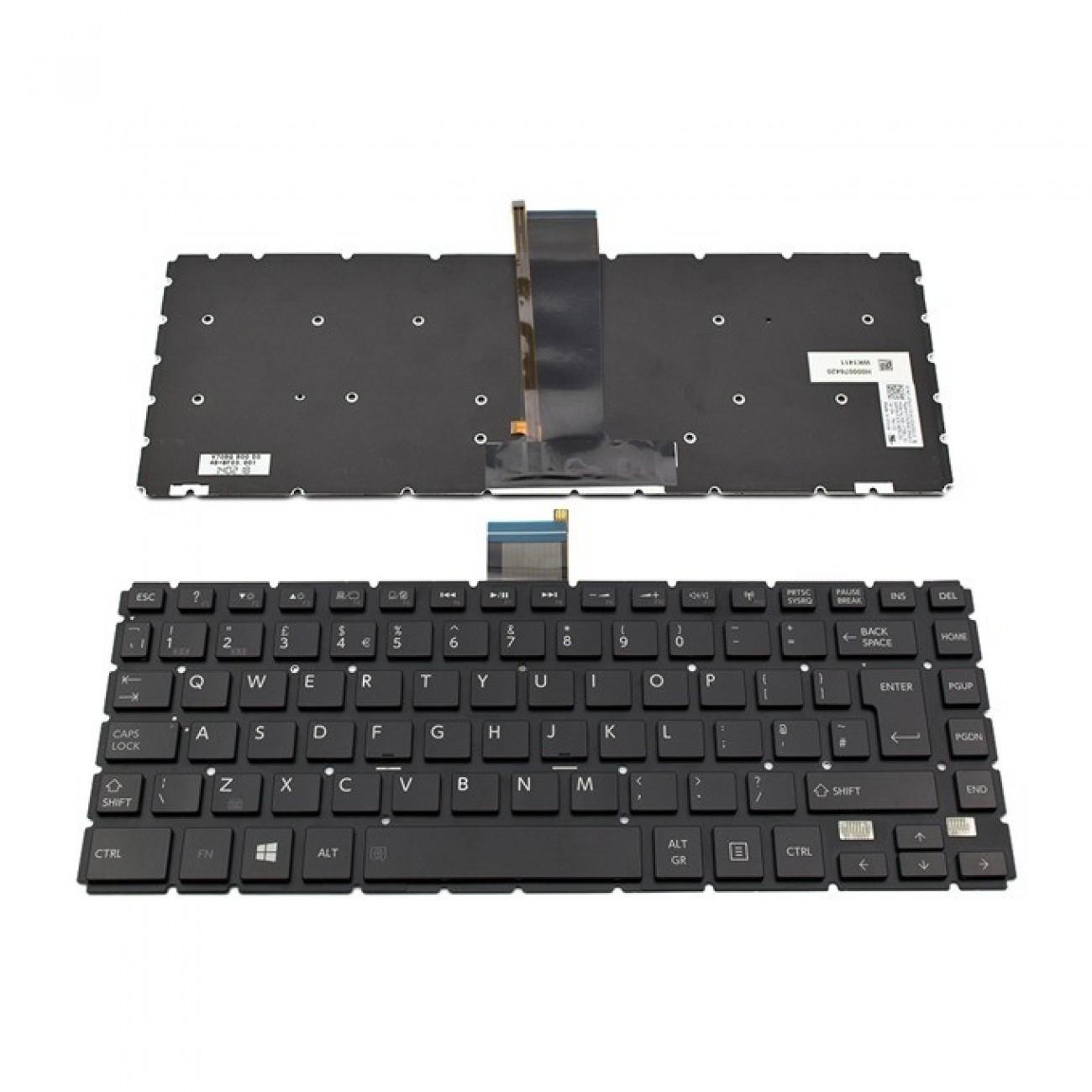 Клавиатура за Toshiba Satellite E45T-B/L40-B/S40-B, UK, без рамка, с подсветка, черна в Резервни части -    Alleop