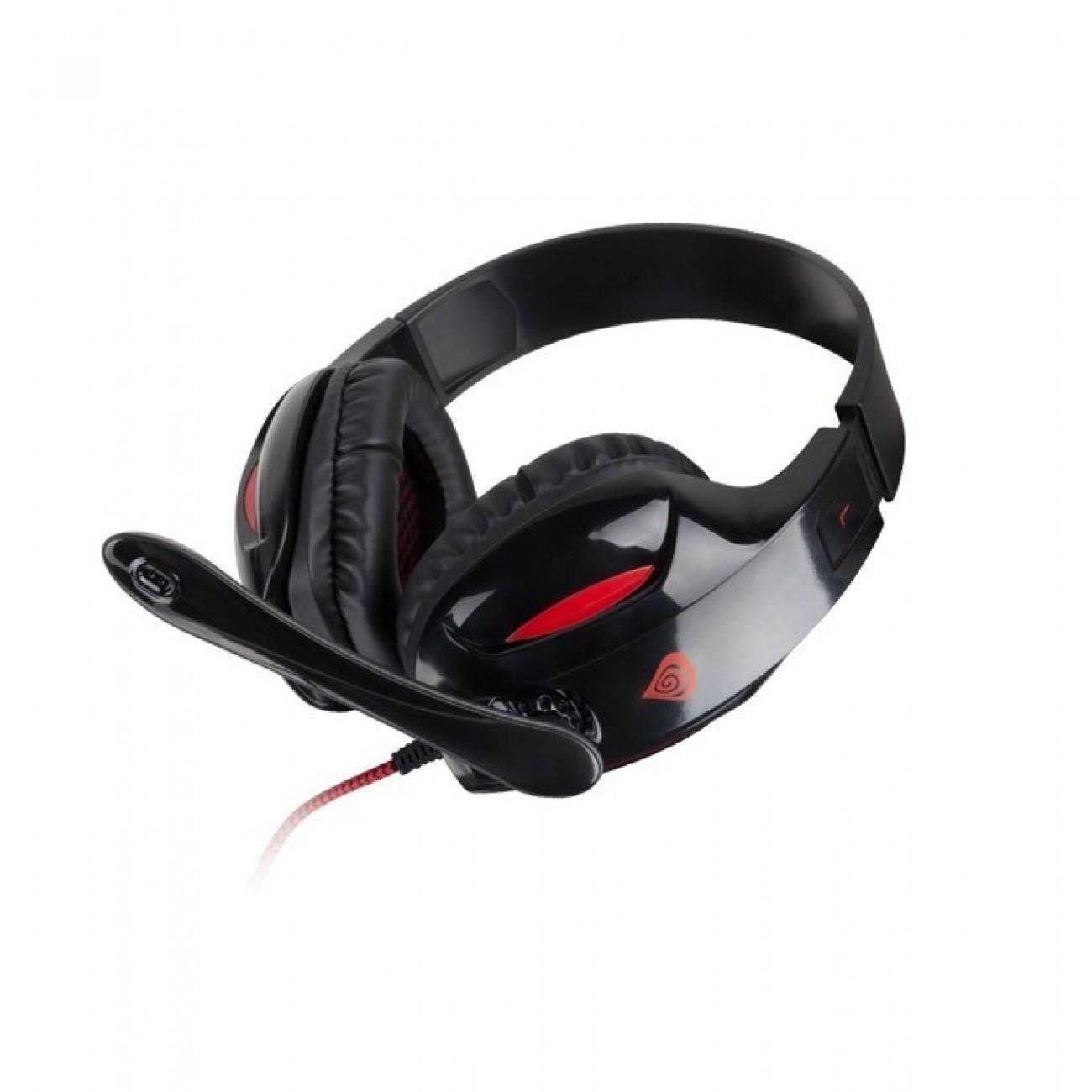 Слушалки Natec Genesis H44 (981-000575), геймърски, микрофон, черни с червена сърцевина в Слушалки -  | Alleop