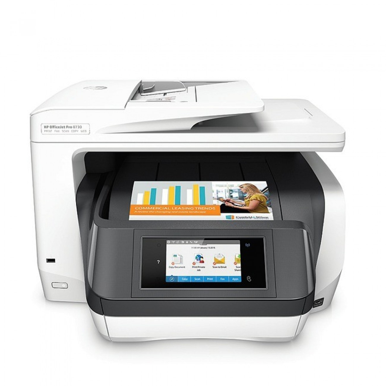 HP OfficeJet Pro 8730, цветен мастилен принтер/скенер/копир/факс, 2400x1200 dpi, 36стр/мин, Wi-Fi, LAN, USB в Мултифункционали и MFP -  | Alleop