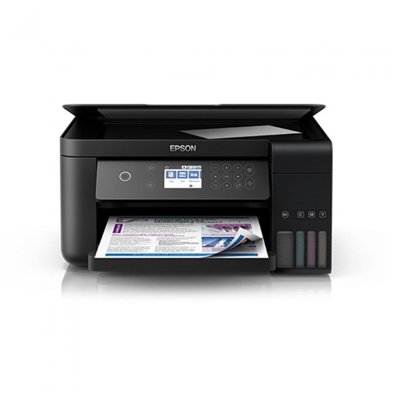 Мултифункционално мастиленоструйно устройство Epson L6160, цветен принтер/копир/скенер, 4800 x 1200 dpi, 15 стр/мин, USB, LAN, Wi-Fi, A4 в Мултифункционали и MFP -  | Alleop