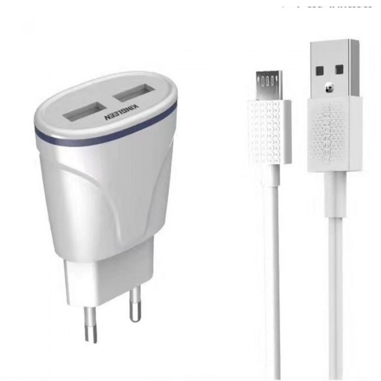 Зарядно устройство Kingleen от контакт към 2x USB A(ж), 5V/2.1, с кабел от USB A(м) към USB C(м), бяло в Перални и Сушилни -    Alleop