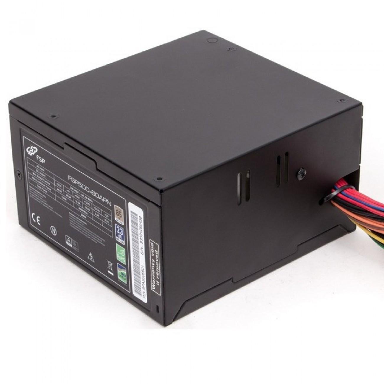 Захранване FORTRON FSP Group FSP500-60APN 85+, 500W,Active, rev.2.0, 120mm fan, 24 pin конектор, 230V в Захранвания Настолни компютри -  | Alleop