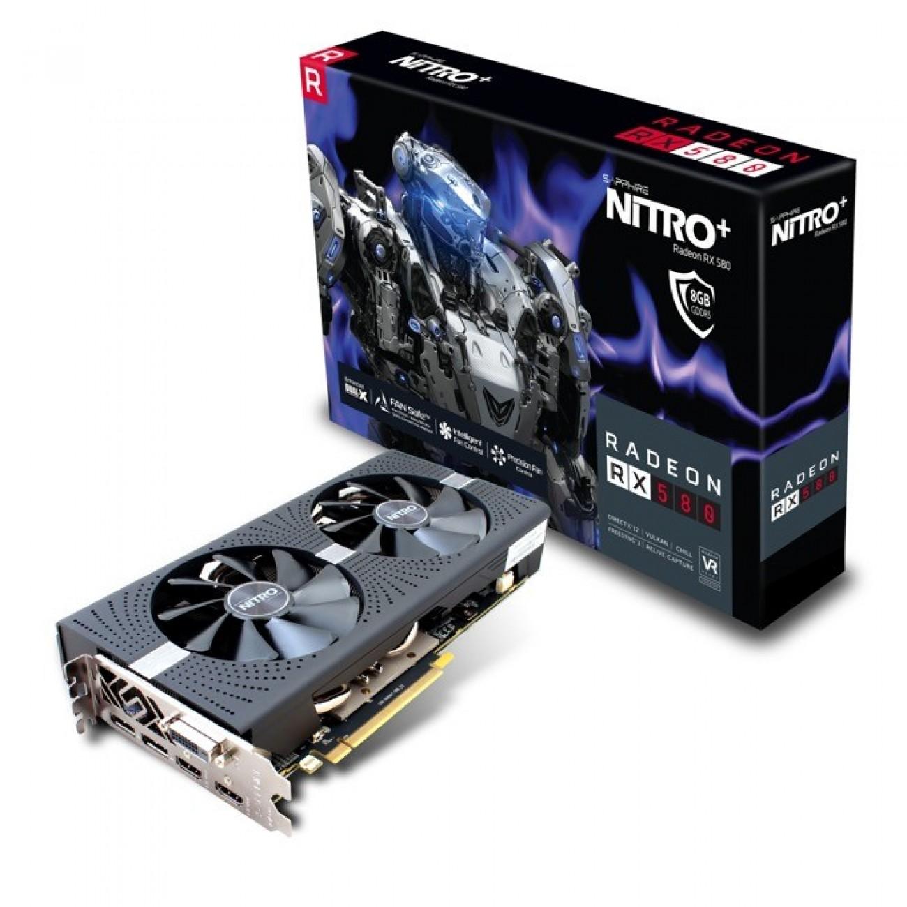 Видео карта AMD Radeon RX 580, 8GB, Sapphire NITRO+ Radeon RX 580 4GD5, PCI-E 3.0, GDDR5, 256 bit, 2x Display Port, 1x HDMI, 1x DVI в Видео карти -  | Alleop