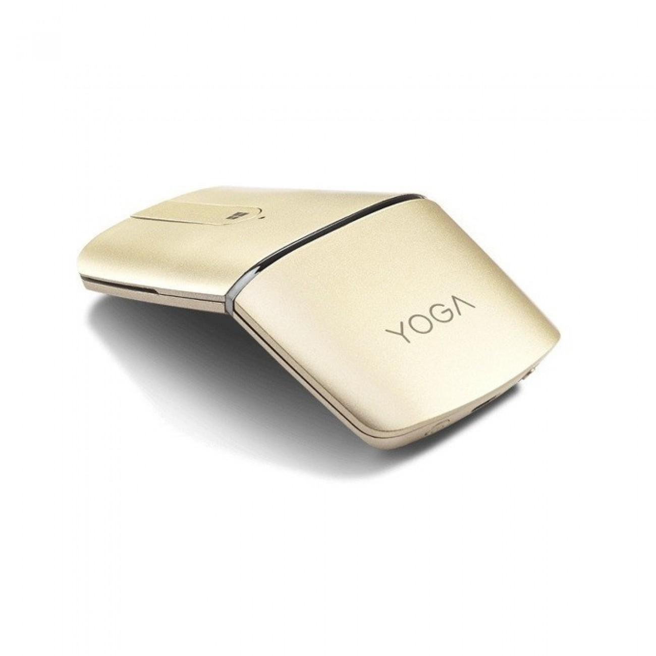 Мишка Lenovo Wireless Yoga, оптична (1600 dpi), Bluetooth 4.0/Wireless, USB, златиста, сензорен тъч пад, сгъваема, презареждаема батерия в Мишки -  | Alleop