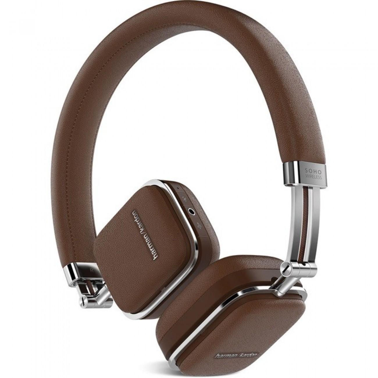 Слушалки Harman Kardon SOHO BT, безжични, микрофон, управление на звука, кафяви в Слушалки -  | Alleop