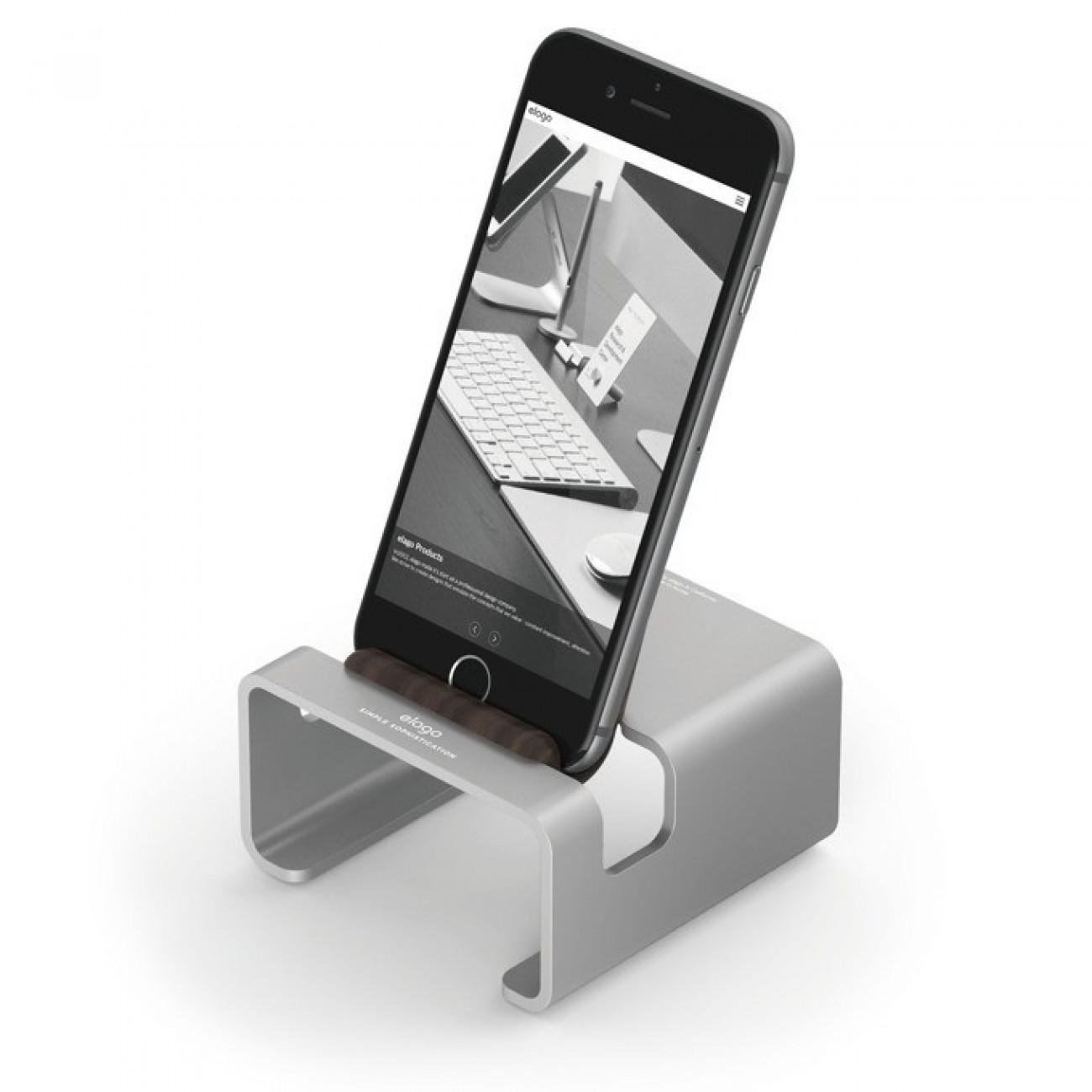 Стойка за бюро Elago M3 Stand - поставка от алуминий и дърво за iPhone 6/6+/5/5S/5C, iPad mini 2/3, сребриста в Други аксесоари за Телефони -  | Alleop