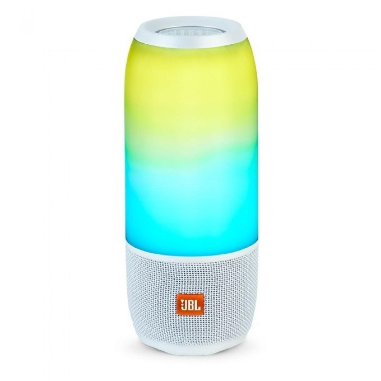 Тонколона JBL Pulse 3, безжична, 2.0, RMS(10W + 10W), Bluetooth, 6000mAh, светеща, бяла в Колони -  | Alleop