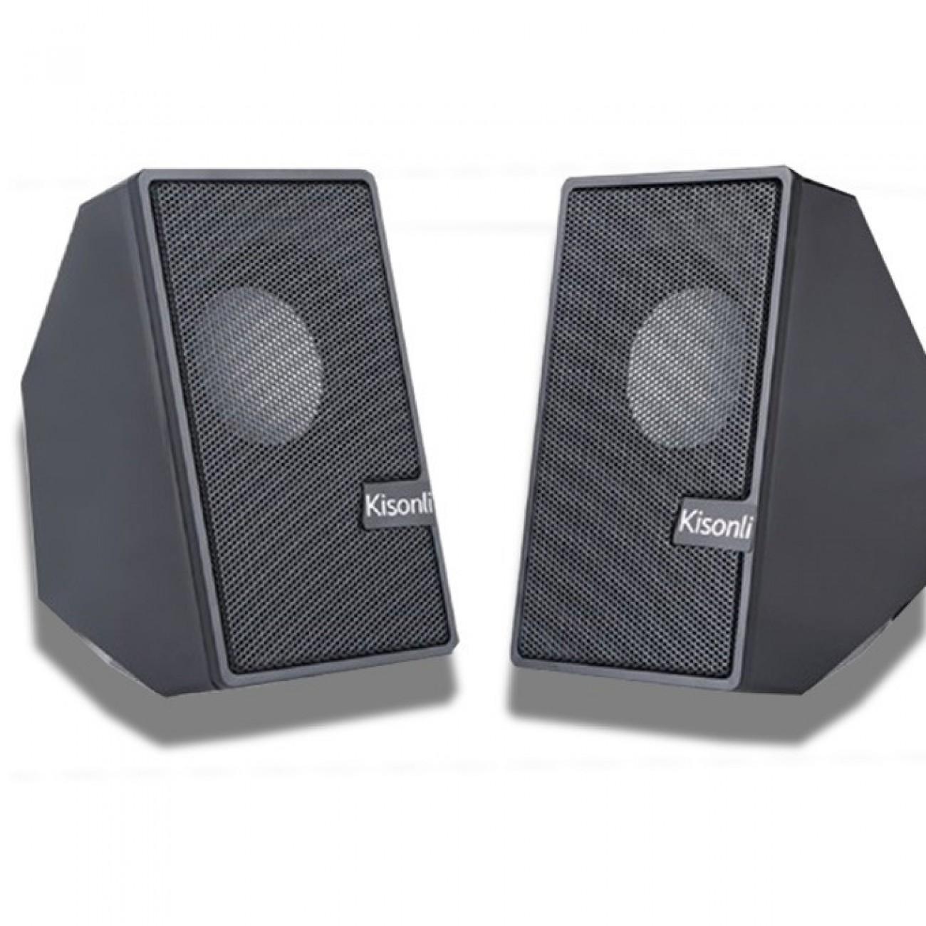 Тонколони Kisonli S-555, 2.0, 6W (2 x 3W), Bluetooth, черни, МP3 плейър в Колони -  | Alleop