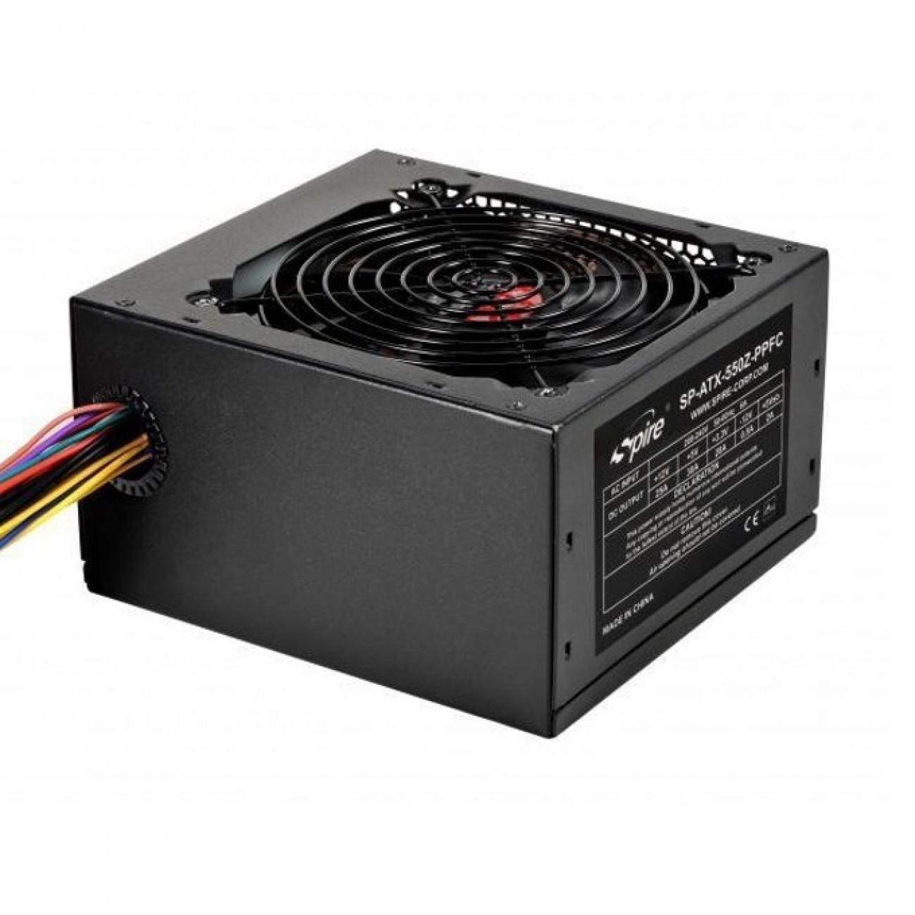 Захранване Spire Pearl 550W 550Z-PPFC-L, 80+, Active PFC, 120мм вентилатор, черно в Захранвания Настолни компютри -    Alleop