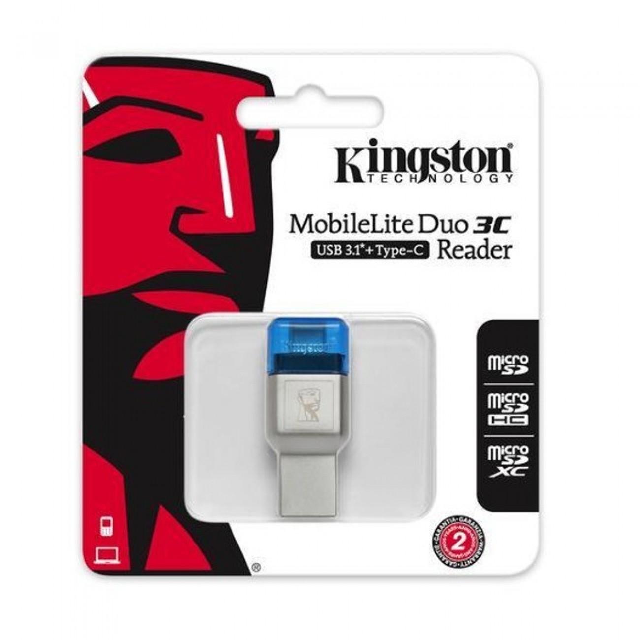 Четец за карти KINGSTON MobileLite Duo 3C, microSD, USB 3.1 + Type-C в Четци за карти -  | Alleop
