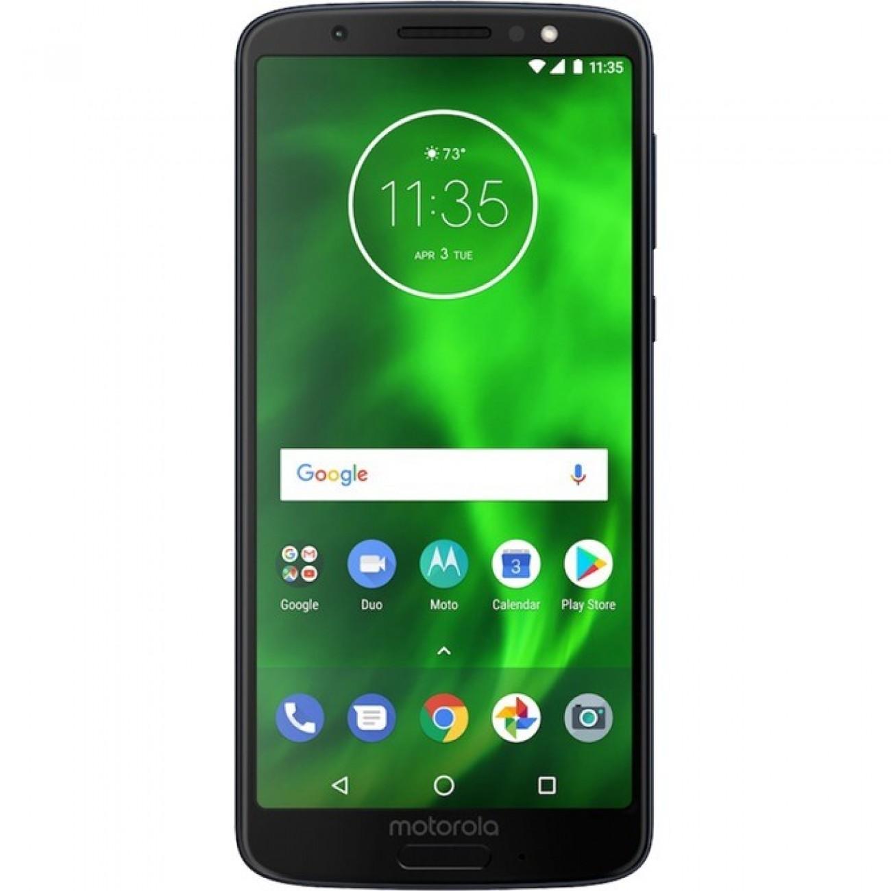 Motorola Moto G6 Plus (черен), поддържа 2 sim карти, 5.9 (14.98 cm) Full HD+ IPS дисплей, осемядрен Qualcomm Snapdragon 630 2,2 GHz, 4GB RAM, 64GB Flash памет (+ microSD слот), двойна основна камера 12.0 + 5 MPix и 8 MPix задна, Android, 167g в Мобилни те