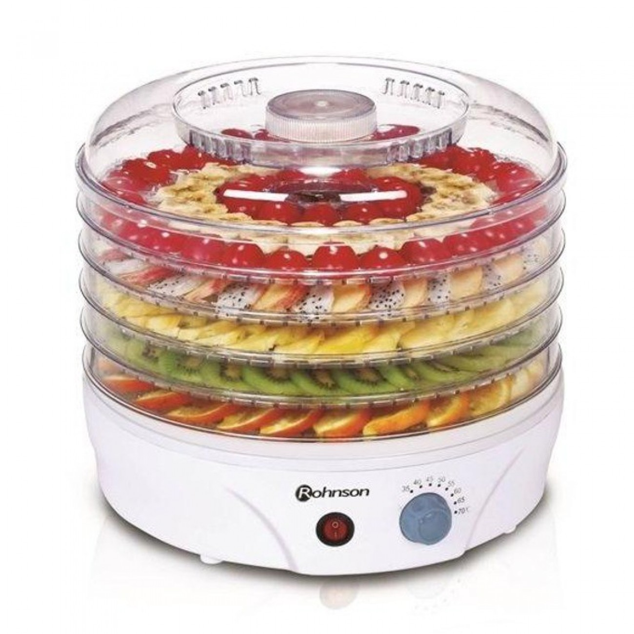 Уред за сушене на плодове и зеленчуци Rohnson R 289, регулиране на температурата 35-70 C, вентилатор за равномерно сушене, 245W в Други електроуреди -    Alleop