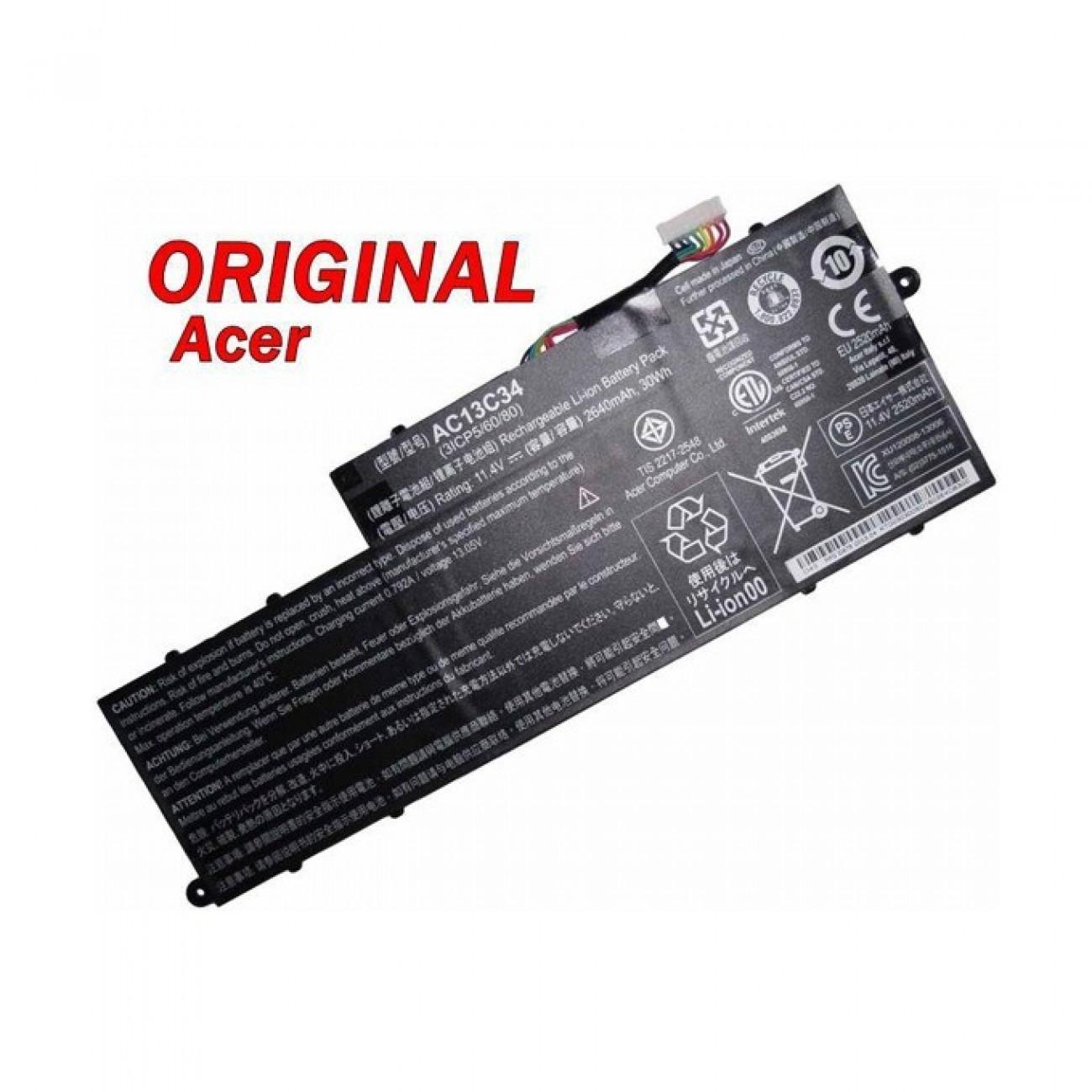 Батерия (оригинална) ACER Aspire, съвместима с V5-122P/AC13C34, 11.4V, 2640mAh в Батерии за Лаптоп -  | Alleop