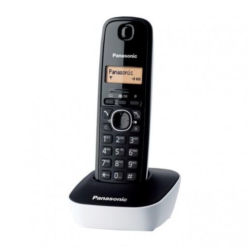 Безжичен телефон Panasonic KX-TG1611, течнокристален черно-бял дисплей, бял в Безжични телефони -    Alleop