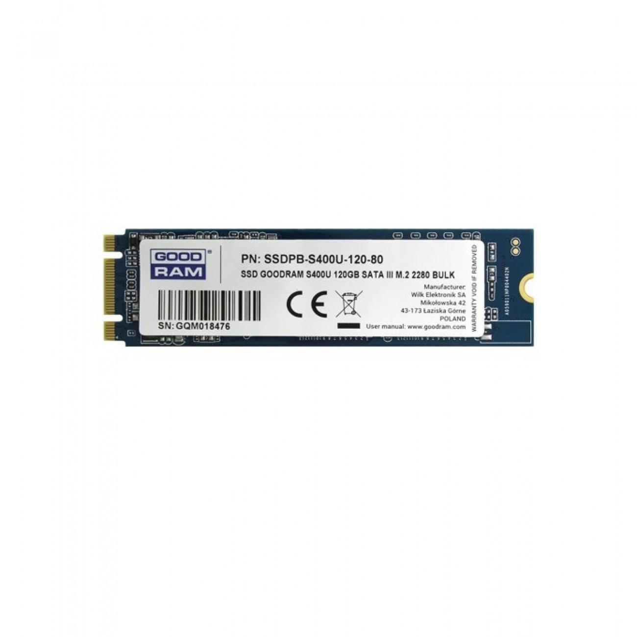 SSD 120GB Goodram S400u SSDPR-S400U-120-80, SATA 6Gb/s, M.2 2280, скорост на четене 550 MB/s, скорост на запис 530MB/s в SSD дискове -  | Alleop