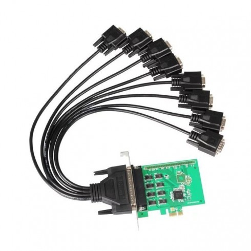 Контролер Makki MAKKI-PCIE-8XSERIAL-V1, от PCIe x1(м) към 8x Serial port(DB-9)(м) в Контролери -  | Alleop