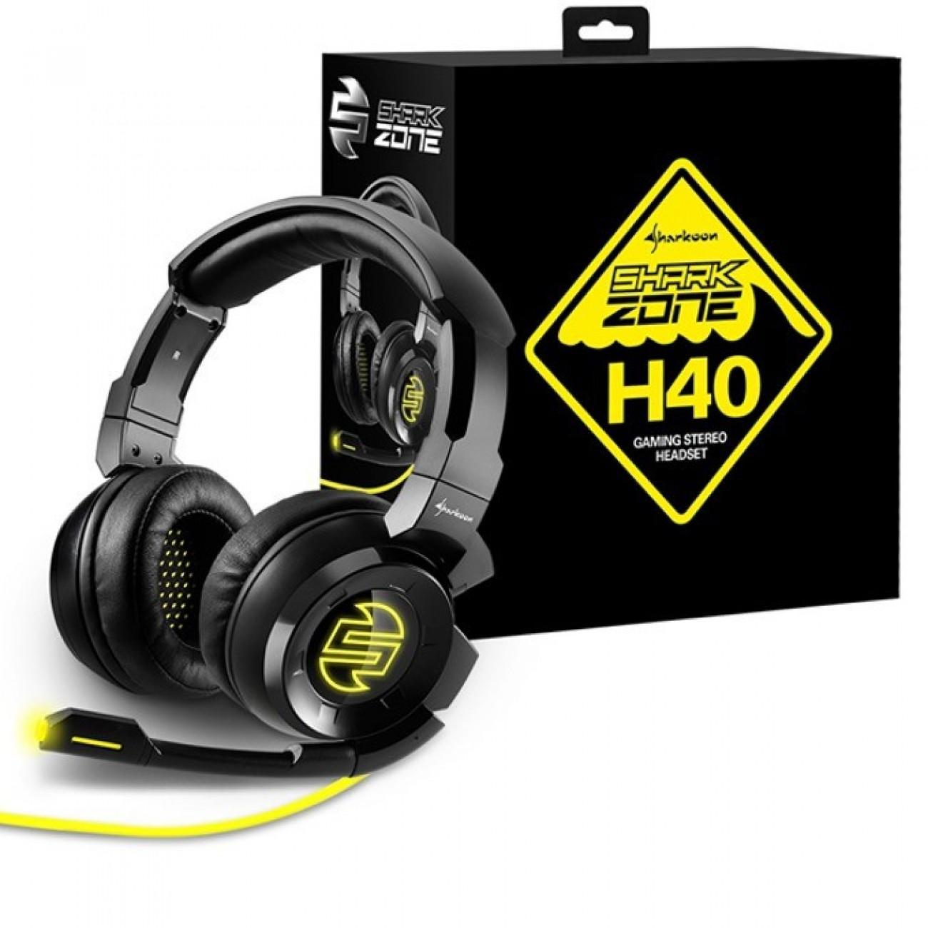Слушалки Sharkoon Zone H40, микрофон, USB, 3.5mm Jack, 20 Hz - 20 kHz, черни в Слушалки -    Alleop