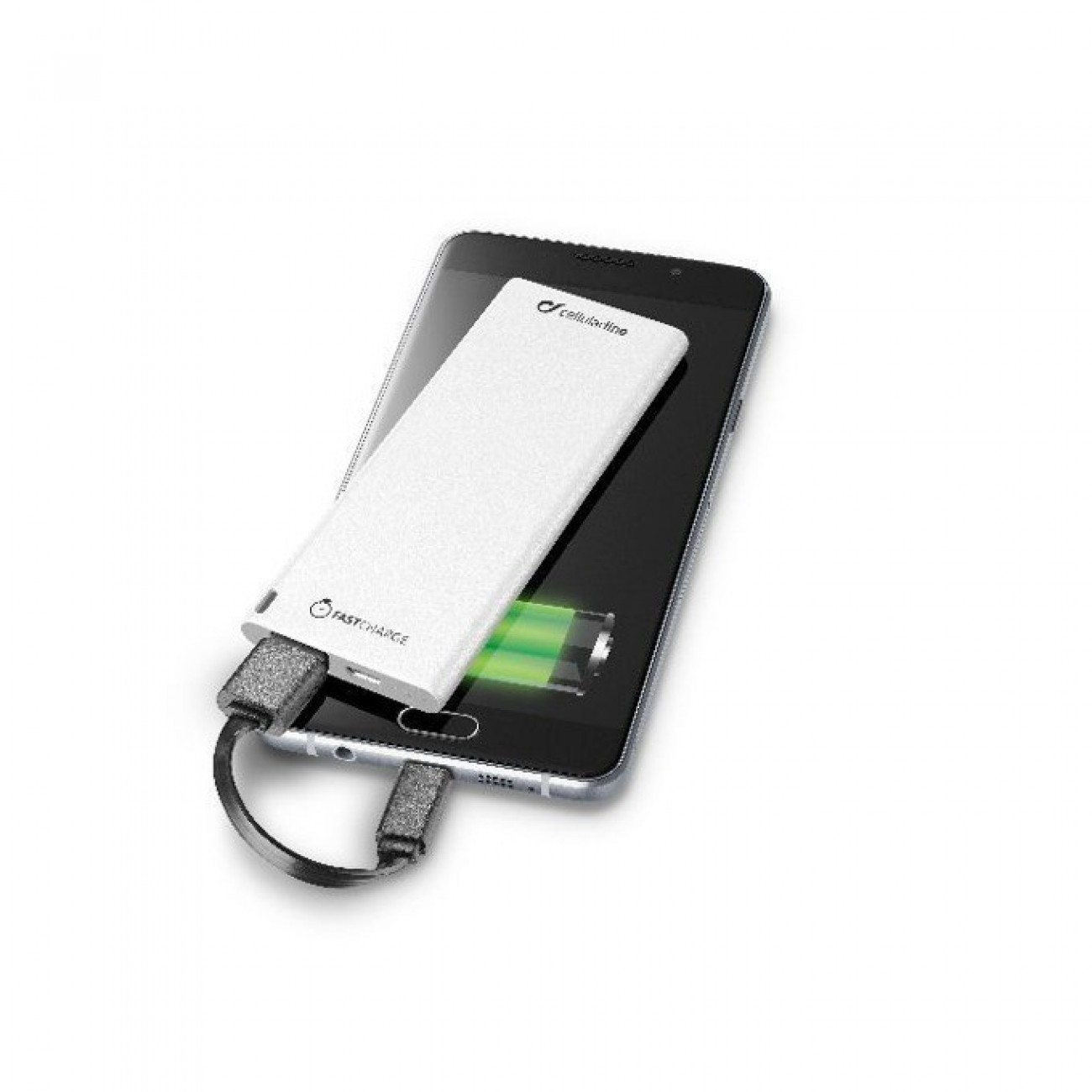 Външна батерия/power bank, Cellular Line FREEPOWER SLIM 3000 UNIVERSALE, 3000mAh, бяла, microUSB Type B, USB A в Външни батерии -    Alleop
