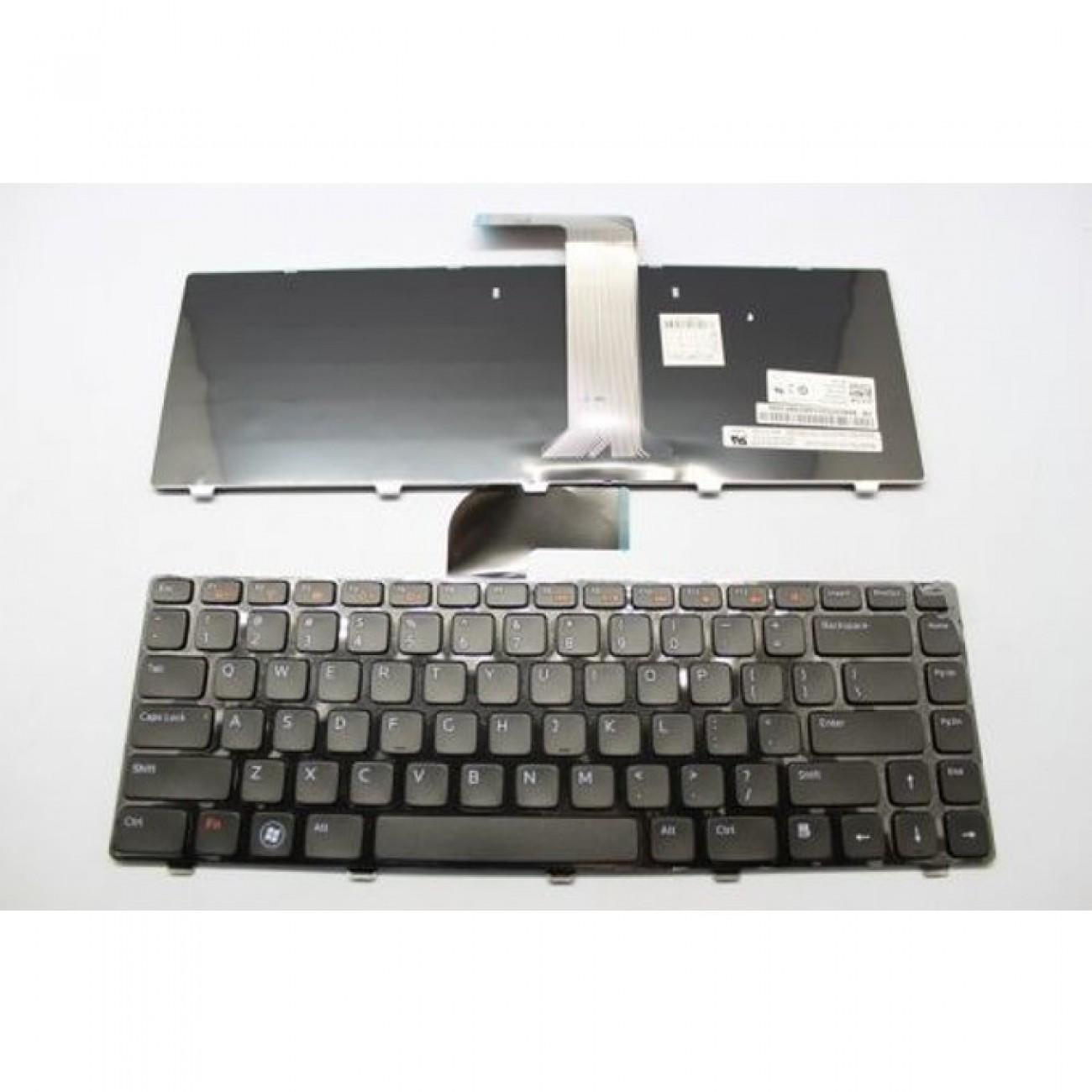Клавиатура за лаптоп Dell, съвместима със серия Inspiron N5040 M5040 XPS L502, черна рамка, със сиви бутони, с подсветка, US/UK в Резервни части -    Alleop