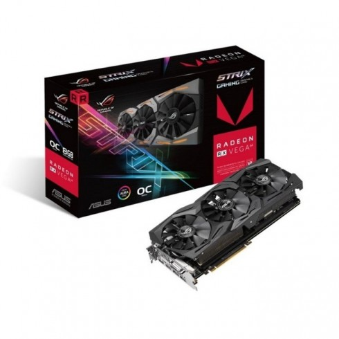 Видео карта AMD Radeon RX Vega64, 8GB, Asus ROG STRIX RX Vega64 OC Edition, PCI-E 3.0, HBM2, 2048 bit, 2x Display Port, 2x HDMI, 1x DVI, AURA RGB подсветка в Видео карти -  | Alleop