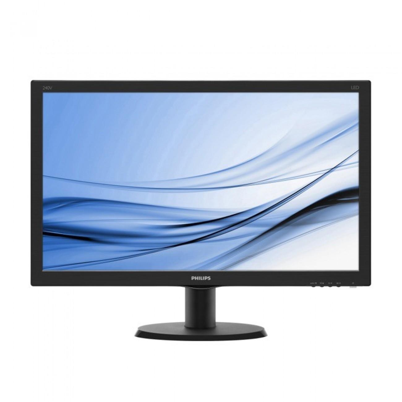 Монитор 23.8 (60.45 cm) Philips 240V5QDAB, IPS-ADS панел, Full HD, 5 ms, 10 000 000:1, 250cd/m2, HDMI, DVI в Монитори -  | Alleop