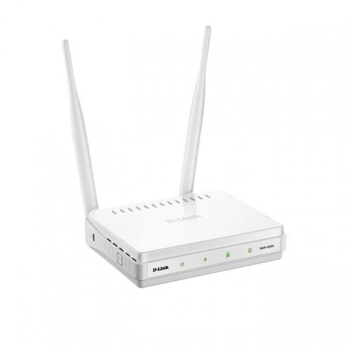 Access point/Аксес пойнт D-LINK DAP-2020/Е, 2.4GHz(300Mbps), 1x 10/100BASE-TX Lan port, 2x 5dBi сваляеми антени в Аксеспойнт / Рипийтър -  | Alleop